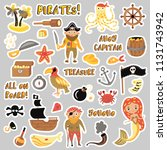 set of pirates vector cartoon... | Shutterstock .eps vector #1131743942