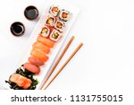 Sushi Rolls Set With Salmon An...