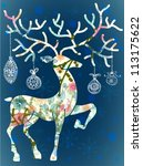 Christmas deer with decorations, beautiful illustration, vector - stock vector