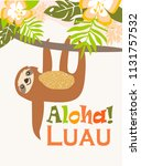 poster with sloth . editable...   Shutterstock .eps vector #1131757532