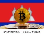 bitcoin btc on stack of... | Shutterstock . vector #1131759035