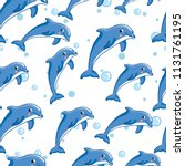 seamless texture with dolphins | Shutterstock .eps vector #1131761195