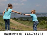 two cute children  sister and... | Shutterstock . vector #1131766145