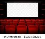 cinema screen with red seats.... | Shutterstock .eps vector #1131768398