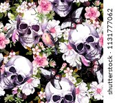 human skulls with flowers ... | Shutterstock . vector #1131777062