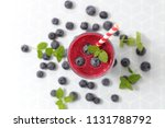 blueberry smoothie  top view | Shutterstock . vector #1131788792