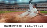 baseball runner slide to the...   Shutterstock . vector #1131795728