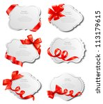 set of beautiful cards with red ... | Shutterstock .eps vector #113179615