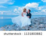 blond bride and groom on... | Shutterstock . vector #1131803882