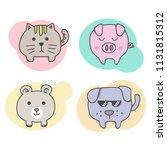 set of animal doodle cartoon ... | Shutterstock .eps vector #1131815312
