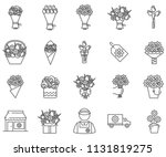 Stock vector set of bouquet related vector line icons includes such icons as flowers roses delivery present 1131819275