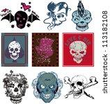 skulls | Shutterstock .eps vector #113182108