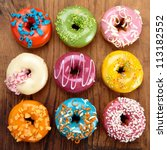 Various Baked Donuts  Sweet Food