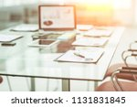 workplace with laptop and... | Shutterstock . vector #1131831845