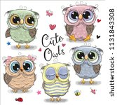 set of cute cartoon owls on a... | Shutterstock .eps vector #1131843308
