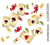 casino playing cards and chips... | Shutterstock .eps vector #1131853355