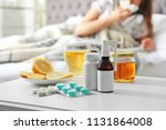 cold remedies and sick woman on ... | Shutterstock . vector #1131864008