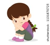 sad girl depressed girl looking ... | Shutterstock .eps vector #1131870725
