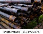 oil drill pipe. rusty drill... | Shutterstock . vector #1131929876