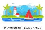 sailing yacht ship.lighthouse... | Shutterstock .eps vector #1131977528