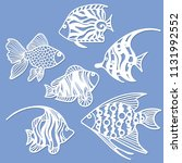 set of fish for laser cutting.... | Shutterstock .eps vector #1131992552