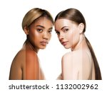 two wemen with dark and light... | Shutterstock . vector #1132002962