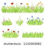 set of different natural garden ... | Shutterstock .eps vector #1132003082