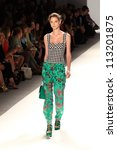 Small photo of NEW YORK - SEPTEMBER 12: A model walks the runway at the NANETTE LEPORE Spring/Summer 2013 collection Mercedes-Benz Fashion Week in New York on September 12,2012