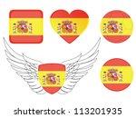 spain flag sign set | Shutterstock .eps vector #113201935