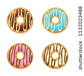 set of donuts with colorful...   Shutterstock . vector #1132023488