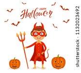 funny little kid in red costume ...   Shutterstock . vector #1132023692