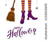 lettering happy halloween with...   Shutterstock . vector #1132023695