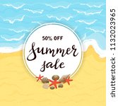 lettering summer sale on round...   Shutterstock . vector #1132023965