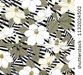 seamless pattern with magnolia... | Shutterstock .eps vector #1132024502