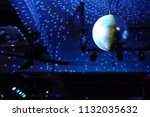 disco ball with blue rays over... | Shutterstock . vector #1132035632