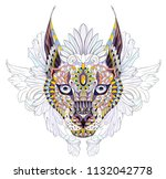 patterned caracal lynx on the... | Shutterstock .eps vector #1132042778