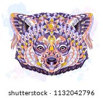 patterned red panda on the... | Shutterstock .eps vector #1132042796