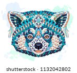 patterned red panda on the... | Shutterstock .eps vector #1132042802