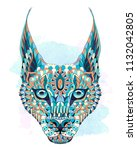 patterned caracal lynx on the... | Shutterstock .eps vector #1132042805