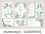 wedding card templates set with ... | Shutterstock .eps vector #1132059242