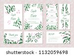 wedding card templates set with ... | Shutterstock .eps vector #1132059698