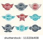 set of retro vintage quality... | Shutterstock .eps vector #113206408