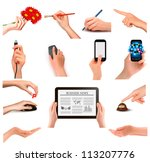 set of hands holding different... | Shutterstock .eps vector #113207776
