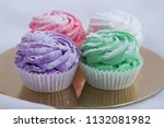 tasty and fresh four cupcakes...   Shutterstock . vector #1132081982