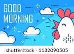 good morning poster with clouds ... | Shutterstock .eps vector #1132090505