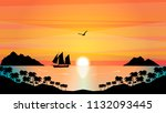 sailboat in the tropical sunset ...   Shutterstock .eps vector #1132093445