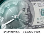 clock and american banknote.... | Shutterstock . vector #1132094405