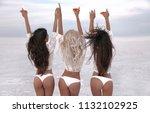 girlfriend. happy three female...   Shutterstock . vector #1132102925