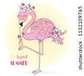 hand drawn cute little pink... | Shutterstock .eps vector #1132109765