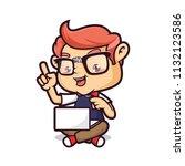 nerd geek with laptop   Shutterstock .eps vector #1132123586